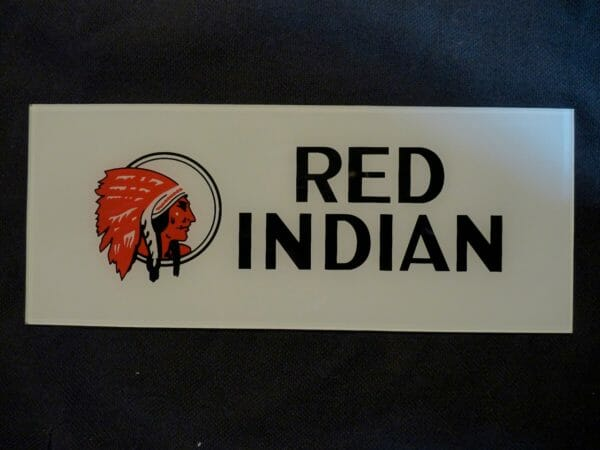 Red Indian Ad Glass for Gas Pump Restoration